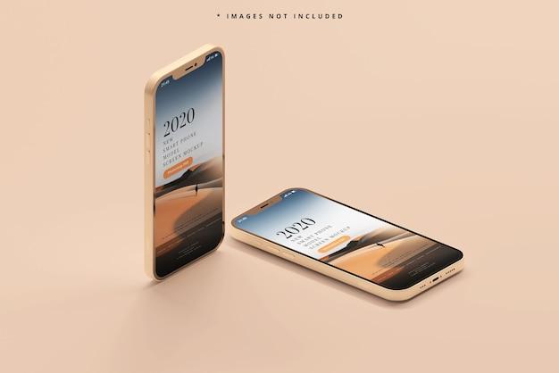 Maquete de smartphones modernos