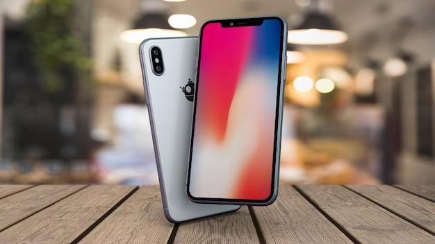 Maquete de smartphones na mesa
