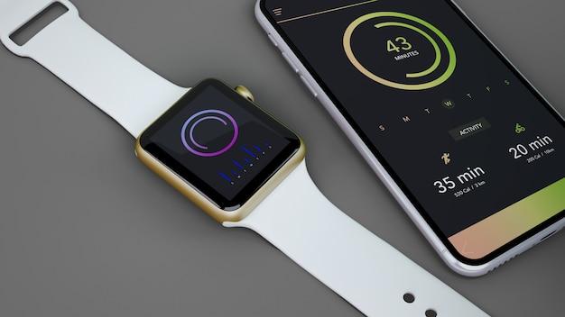 Maquete de smartwatch e smartphone