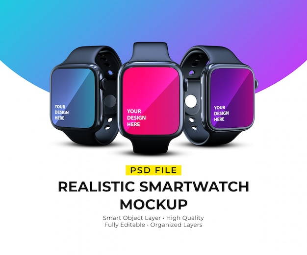 Maquete de smartwatches elegantes realistas em diferentes ângulos