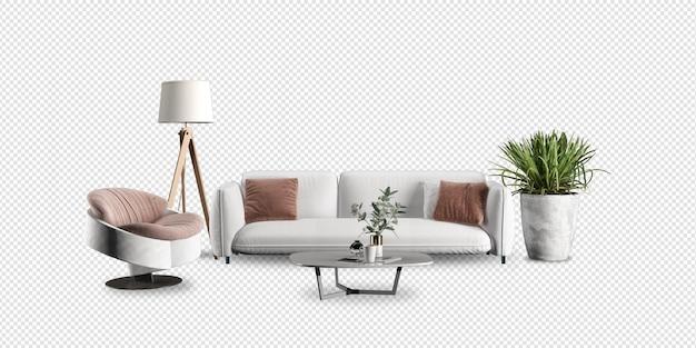 Maquete de sofá e planta na sala de estar