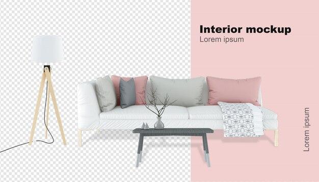 Maquete de sofá renderizada em 3d