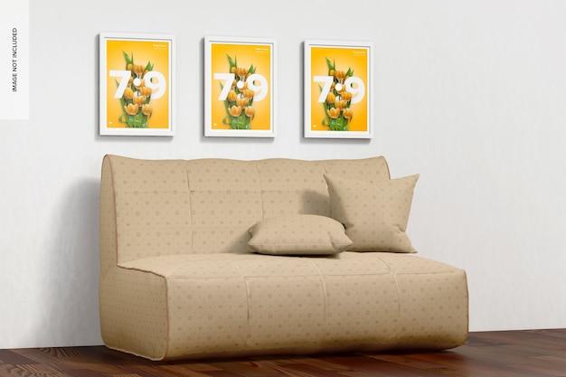 Maquete de sofá, vista esquerda