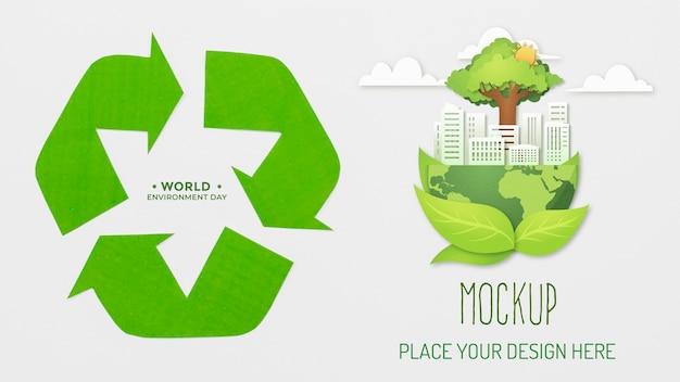 Maquete de sortimento de objetos recicláveis