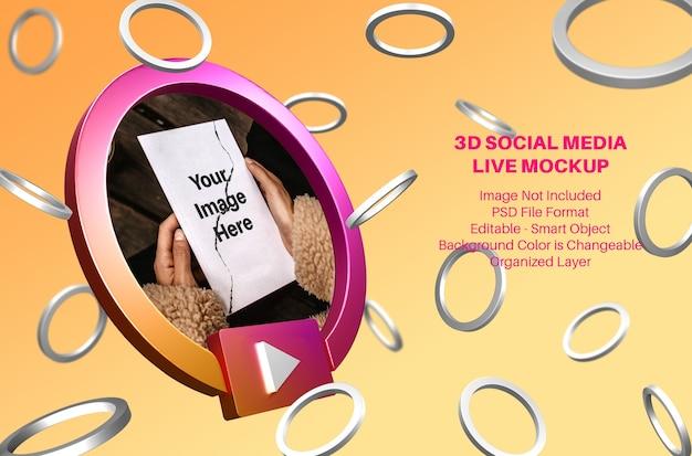 Maquete de streaming ao vivo de mídia social 3d instagram com anéis voadores