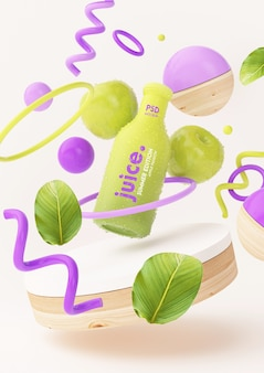 Maquete de suco de maçã com objetos abstratos