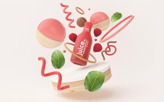 Maquete de suco de verão fresco com objetos abstratos