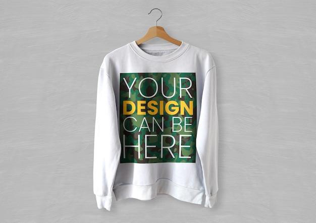 Maquete de suéter branco frontal