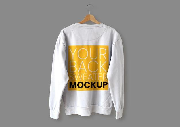 Maquete de suéter branco nas costas
