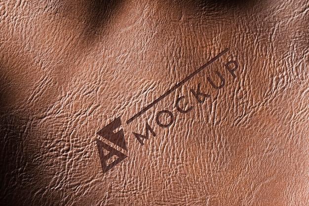 Maquete de superfície de couro marrom