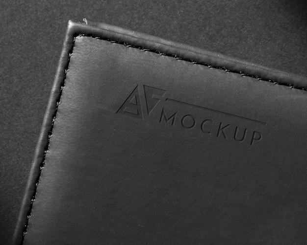Maquete de superfície de couro preto