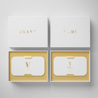 Maquete de suporte de cartão de visita de luxo branco para renderização 3d