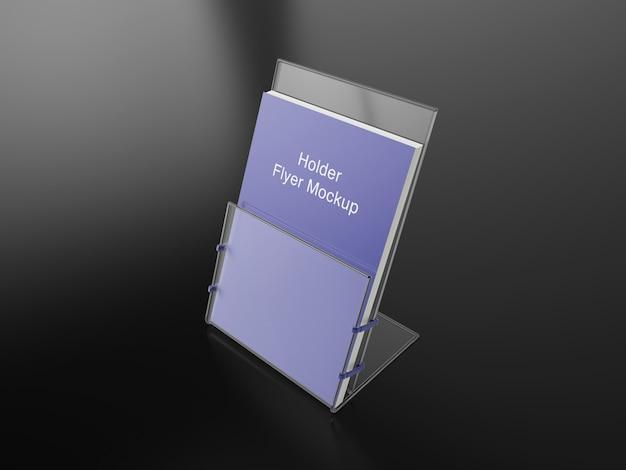 Maquete de suporte de folheto ou cartaz transparente psd