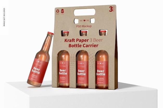 Maquete de suporte de garrafa de cerveja de papel kraft 3, na superfície