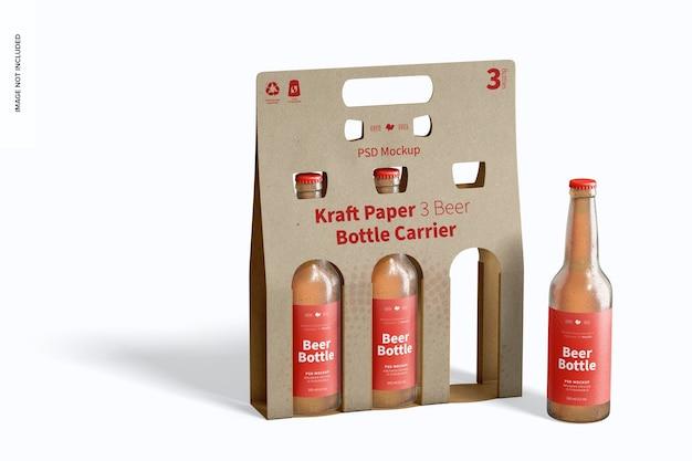 Maquete de suporte de garrafa de cerveja de papel kraft 3