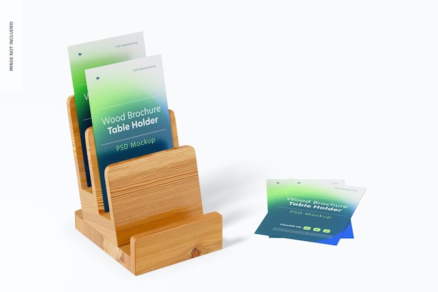 Maquete de suporte de mesa para brochura de madeira, vista esquerda