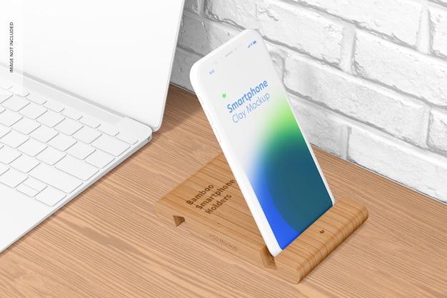 Maquete de suporte de smartphone de bambu, perspectiva
