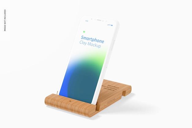 Maquete de suporte de smartphone de bambu