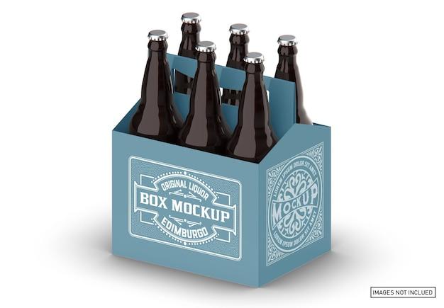 Maquete de suporte para garrafa de cerveja em pacote de papel kraft