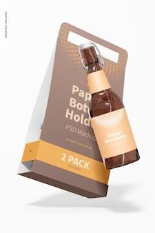 Maquete de suporte para garrafa de papel de 2 pacotes