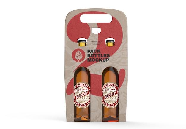 Maquete de suporte para garrafas de cerveja em pacote de papel kraft