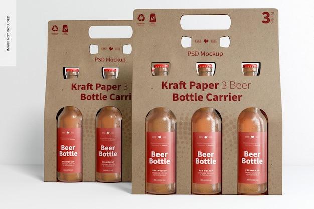 Maquete de suporte para garrafas de cerveja em papel kraft 3, vista frontal