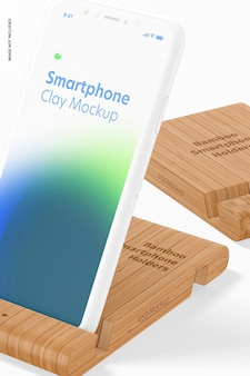 Maquete de suportes de smartphone bamboo, close-up