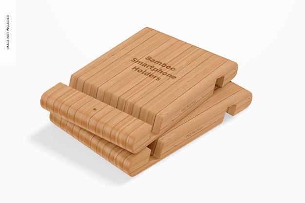 Maquete de suportes para smartphone bamboo, empilhados