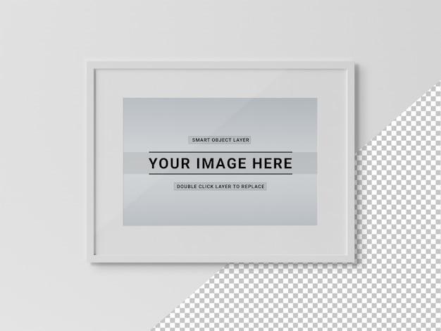 Maquete de suspensão de quadro horizontal retangular branco