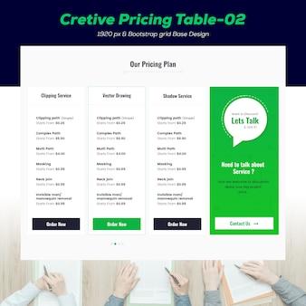 Maquete de tabela de preços criativa
