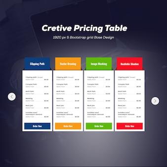 Maquete de tabela de preços moderna