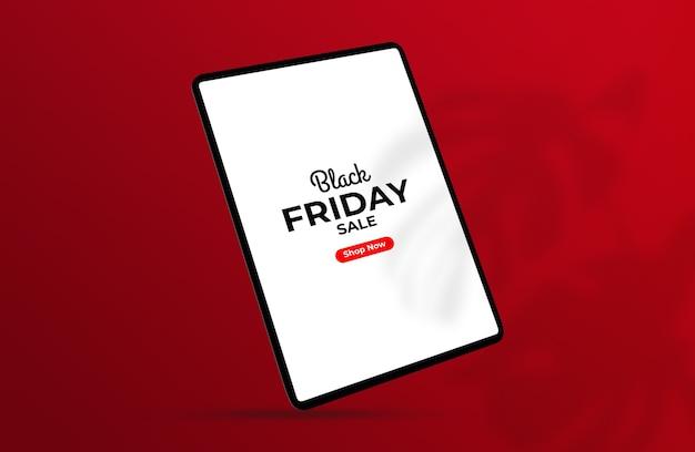 Maquete de tablet black friday flutuante