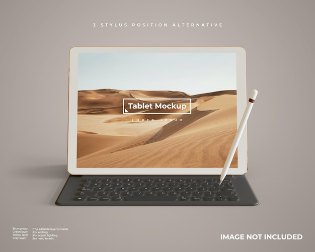 Maquete de tablet com caneta e teclado parece vista frontal