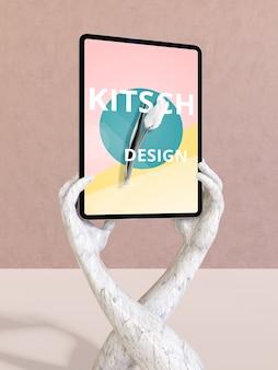 Maquete de tablet com conceito kitsch