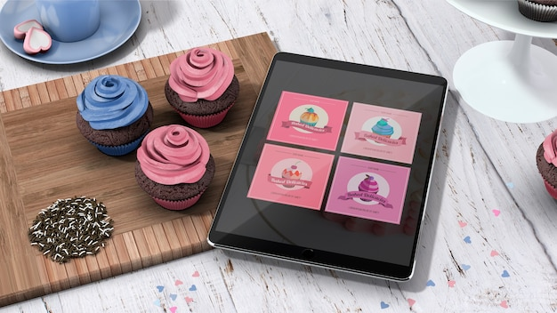Maquete de tablet com cupcakes