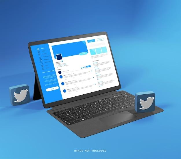 Maquete de tablet com ícone 3d do twitter