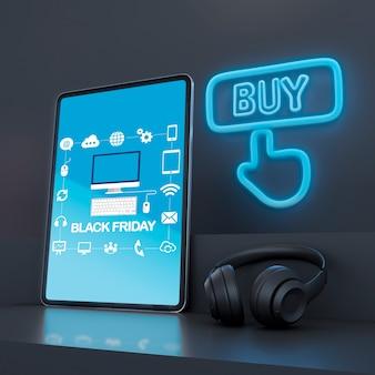 Maquete de tablet com luzes de neon