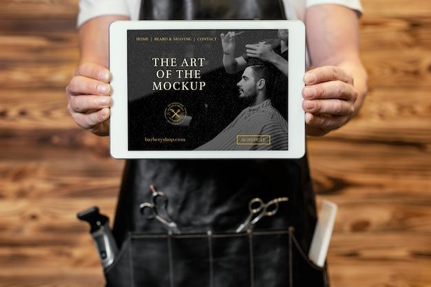 Maquete de tablet de barbearia