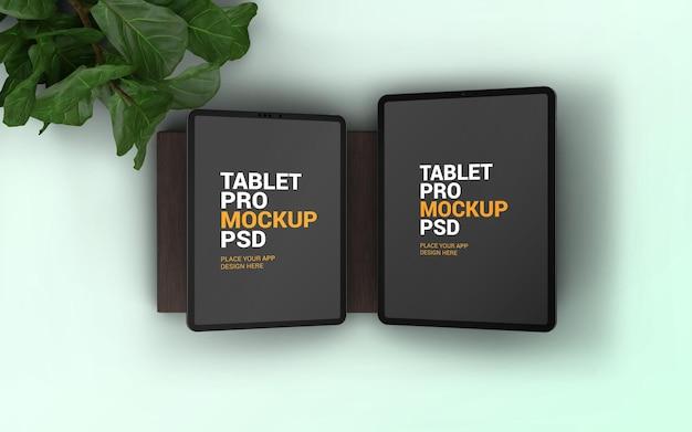 Maquete de tablet de dois tamanhos diferentes