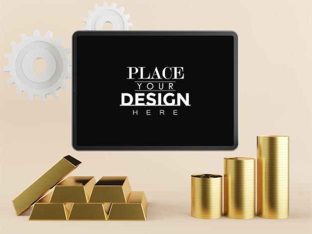 Maquete de tablet de tela em branco com lingotes de ouro
