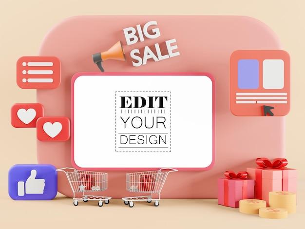 Maquete de tablet de tela em branco para grandes vendas