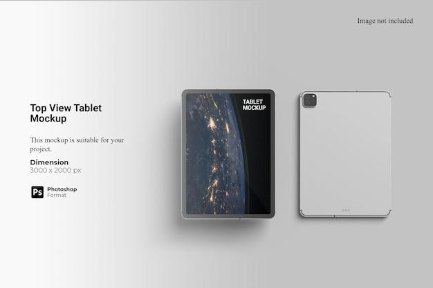 Maquete de tablet de vista superior