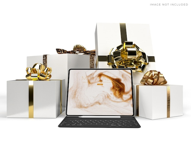Maquete de tablet digital para negócios globais de identidade de marca