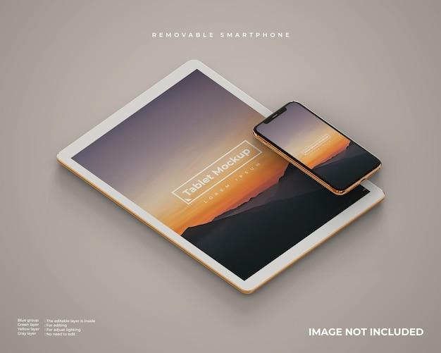 Maquete de tablet e smartphone parece vista esquerda