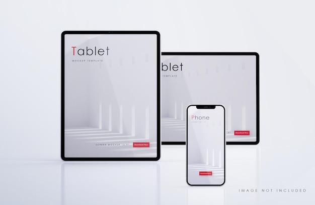 Maquete de tablet e smartphone