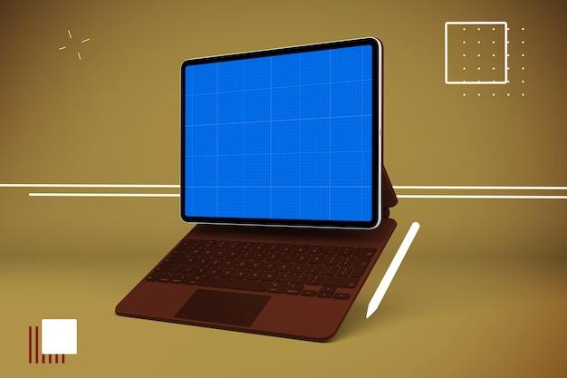 Maquete de tablet e teclado abstrata
