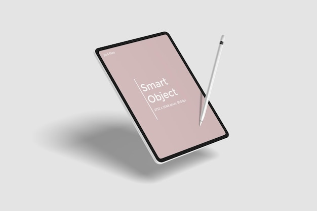 Maquete de tablet flutuante com lápis