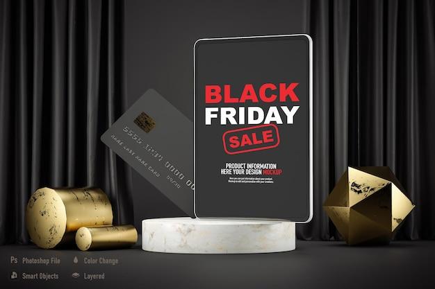 Maquete de tablet isolada para black friday
