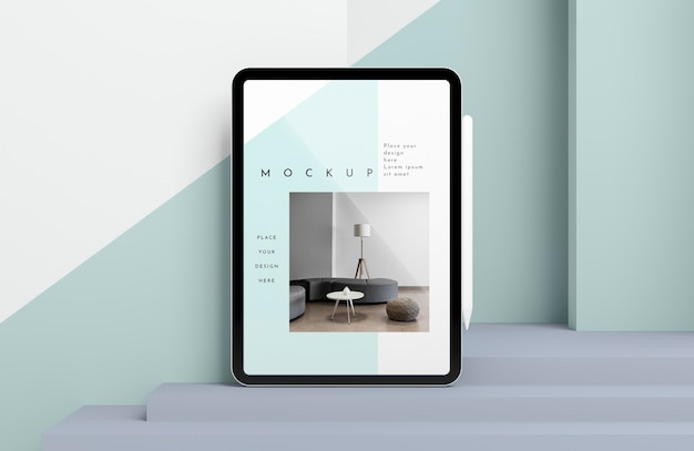 Maquete de tablet moderno com apresentação de caneta