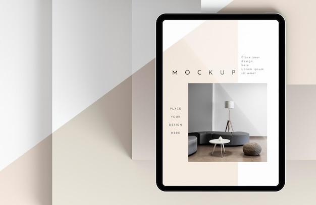 Maquete de tablet moderno com vista superior